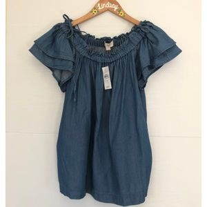 LOFT Off the Shoulder Chambray Top NWT